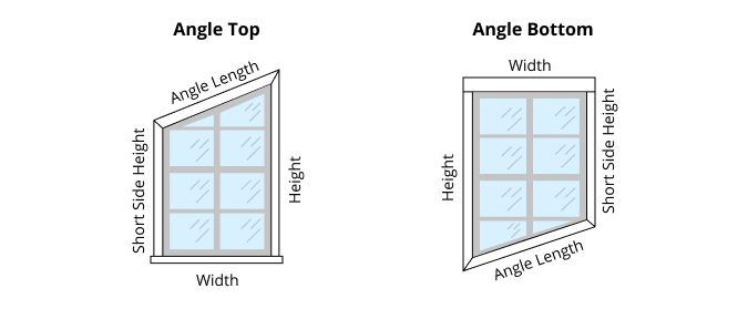 Diagram of how to measure for blinds for angled windows - angle top and angle bottom windows